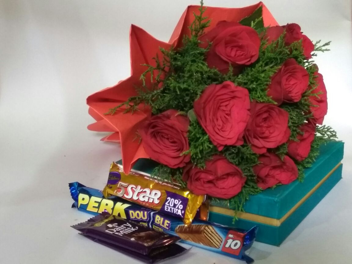 12 Red Roses Red Paper Packing With 5 Chocolates Springbloom